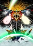 comet darkredgear drill earth genesic_gaogaigar hell_and_heaven highres lion long_hair mecha no_humans open_mouth red_eyes solo space star_(sky) super_robot tail wings yuusha_ou_gaogaigar_final yuusha_series