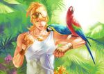 alternate_hairstyle barnaby_brooks_jr bird blonde_hair blue-and-yellow_macaw fingerless_gloves glasses_on_head gloves green_eyes jewelry macaw male necklace no_glasses parrot ponytail red-and-green_macaw siruphial solo sunglasses tank_top tiger_&_bunny wink