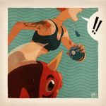 bikini blue_bikini claire_hummel fish highres jewelry kasumi_(pokemon) midriff necklace open_mouth poke_ball pokemon pokemon_(game) pokemon_frlg seaking shouting signature swimsuit tattoo