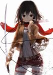 black_hair brown_eyes dual_wielding ichiko_oharu jacket mikasa_ackerman scarf shingeki_no_kyojin sword thigh_strap weapon