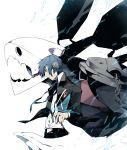 arisato_minato blue_eyes blue_hair digital_media_player headphones male persona persona_3 school_uniform sword thanatos weapon