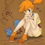 alternate_costume azurill brown_background green_eyes kasumi_(pokemon) kasumi_(pokemon_ag) lowres orange_hair pinkish pokemon pokemon_(anime) red_string short_hair side_ponytail simple_background sitting smile string
