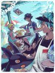 alternate_costume aron beach denji_(pokemon) eating english food gen_(pokemon) ice_cream lucario male multiple_boys pokemon pokemon_(game) pokemon_dppt pokemon_rse raichu tsuwabuki_daigo visor_cap yakisoba