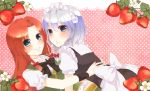 2girls blue_eyes blush braid dress food fruit hair_ribbon hong_meiling hug izayoi_sakuya long_hair maid maid_headdress multiple_girls redhead ribbon short_hair short_sleeves silver_hair smile strawberry touhou twin_braids usacan yuri
