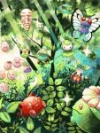 budew butterfree caterpie exeggcute forest grass hoppip kakuna nature no_humans oddish open_mouth petilil plant pokemon pokemon_(creature) shining skiploom sunkern tegaki toudou_maguro