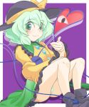 blush boots eyeball green_eyes green_hair green_panties hat heart heart_of_string komeiji_koishi monopollyan panties pantyshot pantyshot_(sitting) pantyshot_sitting ribbon short_hair silver_hair sitting skirt smile solo sun_hat third_eye touhou underwear white_panties