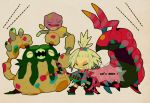 chibi closed_eyes electric_guitar eyes_closed garbodor guitar homika_(pokemon) instrument koffing mousou_youjo playing_instrument pokemon pokemon_(game) pokemon_bw2 scolipede standing_on_one_leg white_hair