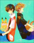 2boys eevee green_background headwear_removed male multiple_boys oinuinu ookido_green ookido_green_(frlg) pikachu pokemon pokemon_(creature) pokemon_(game) pokemon_frlg pokemon_rgby red_(pokemon) red_(pokemon)_(classic) sitting