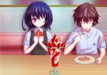 1girl another black_hair blush brown_hair closed_eyes couple eating eyepatch eyes_closed food fork fruit heart heart-shaped_pupils ice_cream koishi misaki_mei noodles open_mouth parfait red_eyes sakakibara_kouichi school_uniform short_hair strawberry sundae symbol-shaped_pupils