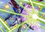 absurdres battle beam_rifle destiny_gundam explosions gun gundam gundam_seed gundam_seed_destiny highres laser mecha shield sky weapon