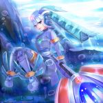 1girl bad_id blue blue_eyes blue_legwear capcom fairy_leviathan female girl gloves guardian_of_the_sea guardians_of_master_x guardians_of_neo_arcadia gynoid helmet highres javalin koruto21 leviathan leviathan_(megaman) leviathan_(rockman) megaman_zero mmz neo_arcadia oekaki reploid rmz robot rockman rockman_zero sitting spear thigh-highs thighhighs underwater woman