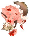 1girl :p :q animal_ears blonde_hair bow dog_ears dog_tail dress elbow_gloves frills gloves hat hat_removed hat_ribbon headwear_removed highres lambdadelta ribbon simple_background smile solo striped striped_legwear symbol-shaped_pupils tail tongue umineko_no_naku_koro_ni upside-down