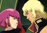 1boy 1girl absurdres blonde_hair gloves gundam haman_karn highres pink_hair quattro_bajeena zeta_gundam