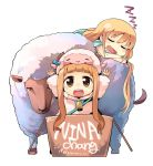 animal animal_costume blonde_hair character_name chibi closed_eyes costume eyes_closed futaba_anzu highres hitsuji_bako ichihara_nina idolmaster idolmaster_cinderella_girls long_hair multiple_girls open_mouth saliva sheep sheep_costume sleeping