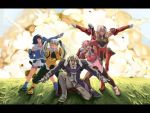 4girls aru-sci blue_hair dark_skin dominia_yizkor explosion ginyu_force_pose kahran_ramsus kelvena letterboxed long_hair multiple_girls pantyhose pink_hair pose seraphita tolone twintails xenogears