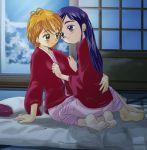 blue_eyes blue_hair brown_eyes brown_hair futari_wa_precure lowres misumi_nagisa multiple_girls precure pretty_cure tsuwabuki-san yukishiro_honoka yuri