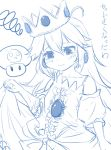 age_regression bare_shoulders crown crying crying_with_eyes_open dress earrings eyes flat_chest long_hair magister_(bigbakunyuu) monochrome mushroom oversized_clothes poison_mushroom princess_peach single_glove skull solo super_mario_bros. tears young