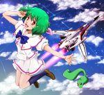 ai-kun airplane alien cloud flying green_hair jet macross macross_frontier mecha moon-p pet ranka_lee red_eyes s.m.s. school_uniform science_fiction serafuku short_hair sky solo space_craft star_(sky) vajra vf-25