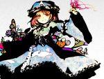 butterfly doku_kinoko grey_background hat high_contrast red_eyes red_hair redhead saigyouji_yuyuko short_hair solo touhou wide_sleeves