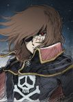 70s 80s brown_eyes brown_hair cape face harlock harlock_saga jolly_roger male oldschool portrait scar shijoh shijou_yukimasa short_hair skull_and_crossbones sky solo space_pirate star_(sky) starry_sky uchuu_kaizoku_captain_harlock