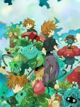 :o bellsprout brown_eyes brown_hair bukiko bulbasaur exeggcute exeggutor from_behind gloom ivysaur male oddish ookido_green ookido_green_(frlg) open_mouth pants paras pokemon pokemon_(creature) pokemon_(game) pokemon_frlg short_sleeves tangela venusaur victreebel vileplume weepinbell wink