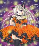 airbrush_(medium) animal_ears black_legwear blonde_hair bow_legwear cat_ears collarbone dress frills halloween light_particles long_hair marker_(medium) neck_ribbon orange_dress original pastel_(medium) paw_pose puffy_short_sleeves puffy_sleeves purple_eyes ribbon short_sleeves solo star tegaki_no_yuu thigh-highs thighhighs traditional_media very_long_hair violet_eyes zettai_ryouiki