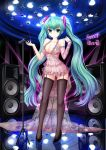 1girl absurdres breasts cleavage copyright_name garter_straps green_eyes green_hair hatsune_miku high_heels highres long_hair microphone microphone_stand panties see-through shoes skirt solo speaker sweet_devil_(vocaloid) thigh-highs twintails underwear very_long_hair vocaloid