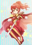:o anna_(fire_emblem) bikke3 boots cape fire_emblem fire_emblem:_kakusei ponytail red red_eyes red_hair redhead solo star starry_background stuffed_animal stuffed_toy sword teddy_bear weapon