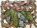 flower leaf nihonga no_humans parody pokemon pokemon_(game) red_eyes scar shimanoko solo thorns venusaur