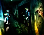 assault_rifle blood corridor dark gna7535 gumi gun kagamine_len kagamine_rin multiple_girls parody pistol resident_evil rifle standing trigger_discipline vocaloid weapon