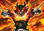 1boy belt claws crack fire flame horns kamen_rider kamen_rider_agito kamen_rider_agito_(series) male orange_eyes saturn-freak solo spikes