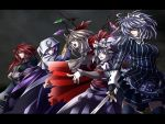 alternate_costume alternate_hairstyle ascot blonde_hair blouse blue_eyes blue_legwear breasts capelet crescent fang fingernails fist_in_hand flandre_scarlet frown grey_background grey_eyes hair_ribbon hat highres hong_meiling hood izayoi_sakuya knife koumajo_densetsu koumajou_densetsu large_breasts lavender_hair letterboxed long_hair long_sleeves looking_at_viewer looking_away maid_headdress multiple_girls no_hat no_headwear nose open_mouth patchouli_knowledge pointing purple_eyes purple_hair red_eyes red_hair redhead remilia_scarlet ribbon robe short_hair short_sleeves silver_hair simple_background skirt teeth thigh-highs thighhighs touhou vest violet_eyes wings wrist_cuffs yoiti