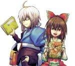 1boy 1girl ahoge belt book bow brown_hair choker curiosities_of_lotus_asia detached_sleeves glasses hair_bow hair_tubes hakurei_reimu japanese_clothes long_hair long_sleeves miko morichika_rinnosuke open_mouth pi_kuro pouch red_eyes short_hair silver_hair simple_background smile touhou yellow_eyes