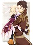 1girl alvin_(tales_of_xillia) animal_ears bad_id blonde_hair bolero boots brown_eyes brown_hair bunny_ears carrying coat cravat cropped_jacket dress elise_lutus frills height_difference kamihara_yuu kiss purple_legwear short_hair smile tales_of_(series) tales_of_xillia thigh-highs thigh_boots thighhighs wink