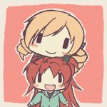 aoki_ume_(style) blonde_hair blush_stickers border casual chibi chin_on_head chin_rest drill_hair fang gseeddjp hoodie long_hair mahou_shoujo_madoka_magica multiple_girls open_mouth outline parody pink_background ponytail red_eyes red_hair redhead sakura_kyouko smile style_parody tomoe_mami wide_face yellow_eyes ||_||