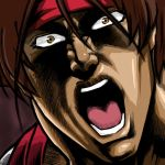 brown_hair headband hokuto_no_ken ika_uemon male manly open_mouth parody rurouni_kenshin sagara_sanosuke solo style_parody teeth tongue yellow_eyes