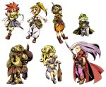 ayla blonde_hair blue_eyes cape chibi chrono_trigger club crono earrings everyone glasses green_eyes hat headband jewelry kaeru_(chrono_trigger) lucca_ashtear magus marle multiple_girls navel nekoichi open_mouth pale_skin ponytail purple_eyes purple_hair red_eyes red_hair redhead robo robot scythe smile standing sword violet_eyes weapon yellow_eyes