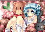 aqua_hair argyle argyle_background blue_eyes blush book bunny cushion dress hatsune_miku long_hair monocle panties pantyshot pantyshot_(sitting) pantyshot_sitting rabbit sitting smile socks solo sonnyaws spring_onion striped striped_panties stuffed_animal stuffed_toy teddy_bear twintails underwear vocaloid young