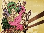 bokura_no_16bit_warz_(vocaloid) cage camouflage_pants campanella_(vocaloid) cupcake dessert eating envelope feathers food gao_(2334787) gatling_gun glasses goggles green_eyes green_hair gumi gun heart matryoshka_(vocaloid) mosaic_roll_(vocaloid) railroad_tracks scissors songover surreal tiny_people vocaloid weapon yowamushi_mont-blanc_(vocaloid)