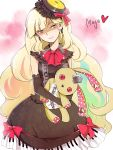 blonde_hair boots bow bunny character_name dress elbow_gloves evil_grin evil_smile gloves goldfishu gothic gothic_lolita gradient_hair grin hair_ornament highres holding lolita_fashion mayu_(vocaloid) multicolored_hair piano_print rabbit rainbow_hair smile stuffed_animal stuffed_toy vocaloid yellow_eyes