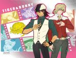 antonio_lopez barnaby_brooks_jr blonde_hair blue_rose_(tiger_&_bunny) brown_eyes brown_hair cabbie_hat dragon_kid facial_hair glasses green_eyes hat huang_baoling ivan_karelin jacket kaburagi_t_kotetsu karina_lyle keith_goodman male multiple_boys necktie pin qgame red_jacket rock_bison sky_high stubble superhero tiger_&_bunny vest waistcoat