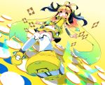 1girl blush copyright_request from_below gradient_hair kneehighs long_hair midriff multicolored_hair navel r_85 skirt sleeveless smile solo twintails very_long_hair yellow_eyes