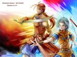 ahoge armor blue_eyes blue_hair bow_(weapon) facial_hair golden_sun golden_sun:_dark_dawn harumani_(golden_sun) headband leoleo_(golden_sun) long_hair male multiple_boys ponytail qgame red_eyes red_hair redhead scimitar stubble sword vambraces weapon
