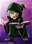 book hikari_(hikari_no_kobako) hood majorina precure robe smile_precure! solo title_drop yellow_sclera