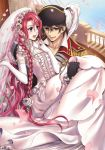 1boy 1girl black_hair blush braid bridal_veil bride brown_eyes carrying couple dress elbow_gloves flower gloves hat hetero jewelry long_hair original pirate pirate_hat princess_carry redhead suzunosuke_(sagula) veil violet_eyes wedding_dress