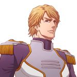 blonde_hair blue_eyes epaulettes lunarclinic male short_hair sky_high smile solo superhero tiger_&_bunny