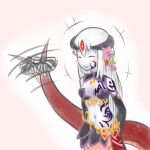 alice_(mon-musu_quest!) alisfieze_fateburn_xvi blush_stickers drawfag elbow_gloves facial_mark flower gloves hair_flower hair_ornament happy horns jewelry lamia long_hair lowres midriff mon-musu_quest! monster_girl navel purple_skin ribbon smile snake solo tail tail_ribbon tail_wagging very_long_hair white_hair