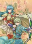 1girl armor blue_eyes blue_hair cape earrings eirika fire_emblem fire_emblem:_seima_no_kouseki green_eyes green_hair innes jewelry qgame rapier red_legwear sword thigh-highs thighhighs weapon
