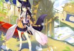 absurdres animal_ears bare_legs black_hair dango eating flower food hair_flower hair_ornament highres japanese_clothes kuromitsu_nene long_hair looking_at_viewer original petticoat poko sandals scan skirt solo standing tabi tail wagashi water_wheel yellow_eyes