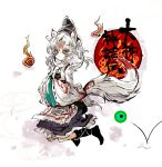 animal_ears cercis crossover grey_eyes hitodama issun japanese_clothes kemonomimi_mode mononobe_no_futo ookami_(game) short_hair solo sword tail tattoo touhou weapon white_hair wolf_ears wolf_tail